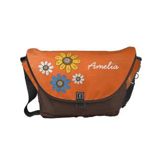 ボヘミアのBohoの花の花柄 メッセンジャーバッグ