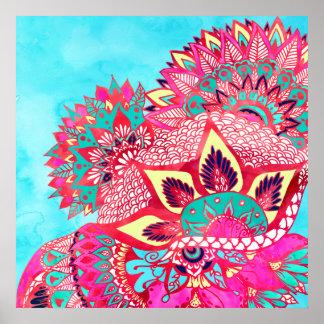 ボヘミアのbohoの赤く青い花のペーズリーパターン ポスター