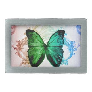 ボヘミア人は緑の蝶虹色の渦巻きます 長方形ベルトバックル