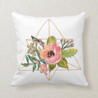 ボヘミア人、花柄及び金ゴールドの幾何学的な陸生動物飼育器の枕 クッション