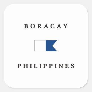 ボラカイ島フィリピンのアルファ飛び込みの旗 正方形シール