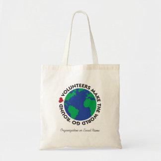 ボランティアは世界を地球と円形「行かせます トートバッグ