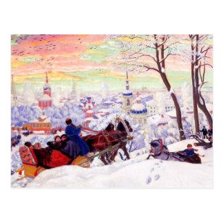 """ボリスKustodievのファインアートの郵便はがき著""""Shrovetide"""" ポストカード"""