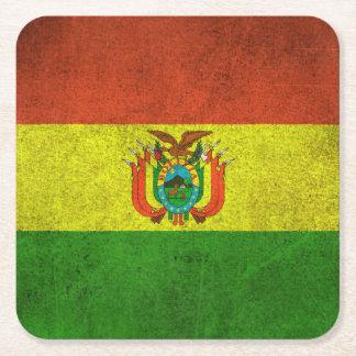 ボリビアのヴィンテージの動揺してな旗 スクエアペーパーコースター