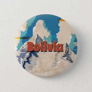 ボリビアのヴィンテージ旅行ポスター 5.7CM 丸型バッジ