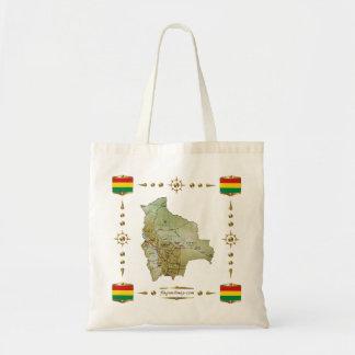 ボリビアの地図 + 旗のバッグ トートバッグ