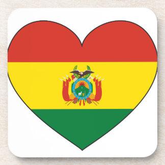 ボリビアの旗のハート ドリンクコースター