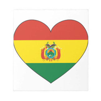 ボリビアの旗のハート ノートパッド