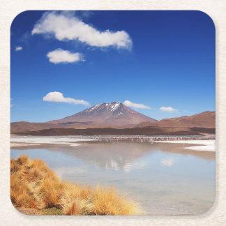 ボリビアの火山とのAltiplanoの景色 スクエアペーパーコースター