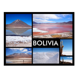 ボリビアの複数の画像のコラージュの黒の文字の郵便はがき ポストカード