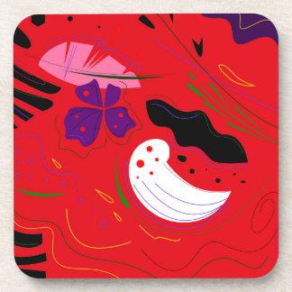 ボリビア手描きのEtnoの赤 コースター