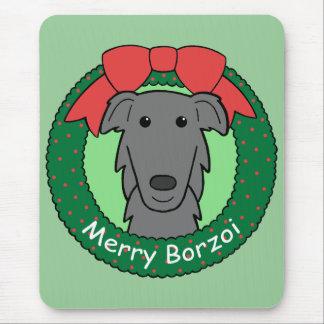 ボルゾイのクリスマス マウスパッド