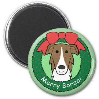 ボルゾイのクリスマス マグネット