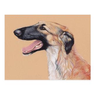 ボルゾイのロシアのなWolfhound犬の芸術の郵便はがき ポストカード