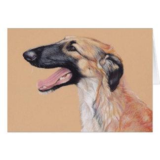 ボルゾイのロシアのなWolfhound犬の芸術カード カード