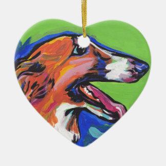 ボルゾイの明るいカラフルの破裂音犬の芸術 セラミックオーナメント