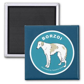 ボルゾイの正方形の磁石 マグネット