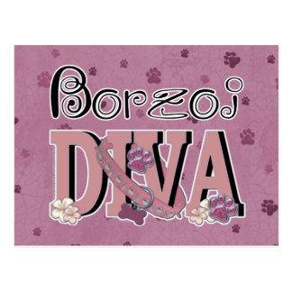 ボルゾイの花型女性歌手 ポストカード