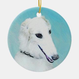 ボルゾイの(白い)絵画-かわいい元の犬の芸術 セラミックオーナメント