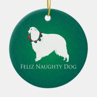 ボルゾイのFelizいけない犬のクリスマスのデザイン セラミックオーナメント