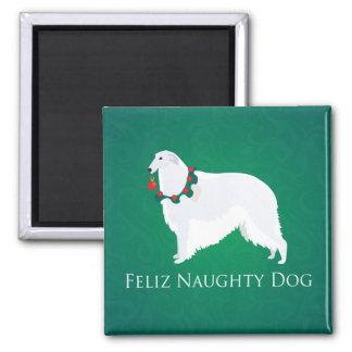 ボルゾイのFelizいけない犬のクリスマスのデザイン マグネット