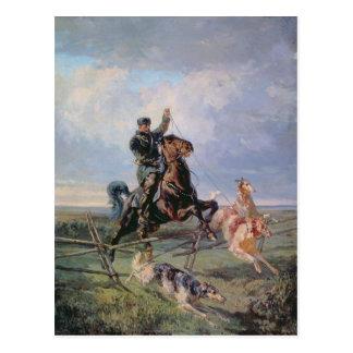 ボルゾイを持つ猟師、1872年 ポストカード