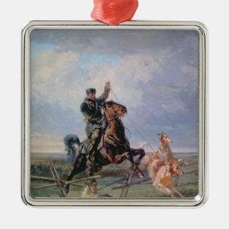 ボルゾイを持つ猟師、1872年 メタルオーナメント