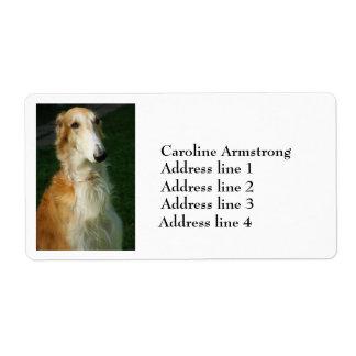 ボルゾイ犬の写真の名前入りな住所シール ラベル