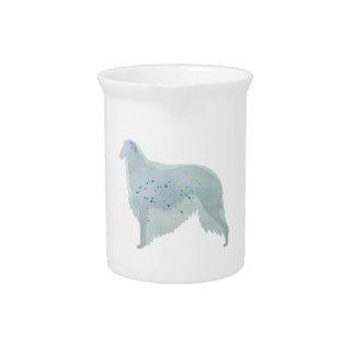 ボルゾイ犬の水彩画のデザイン ピッチャー