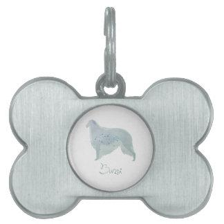 ボルゾイ犬の水彩画のデザイン ペットネームタグ