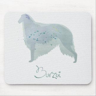 ボルゾイ犬の水彩画のデザイン マウスパッド