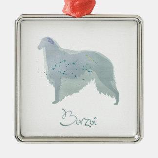 ボルゾイ犬の水彩画のデザイン メタルオーナメント