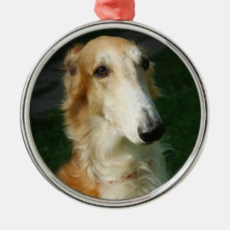 ボルゾイ犬の美しい写真のぶら下がったなオーナメント メタルオーナメント