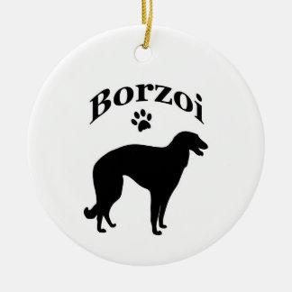 ボルゾイ犬のpawprintのオーナメント/ペンダント セラミックオーナメント