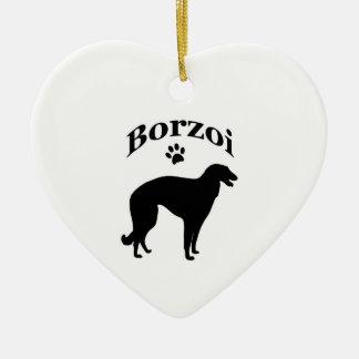 ボルゾイ犬のpawprintのハートのオーナメント/ペンダント セラミックオーナメント