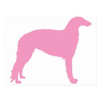 ボルゾイ犬(ピンク) ポストカード