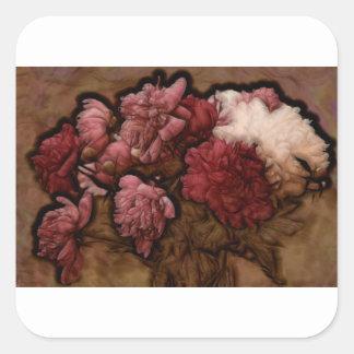 ボルドーのシャクヤクの花の花束 スクエアシール