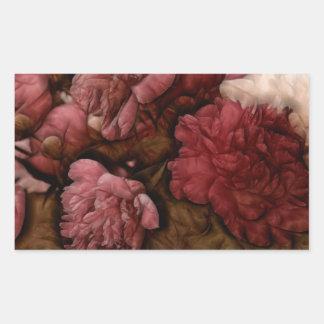 ボルドーのシャクヤクの花の花束 長方形シール