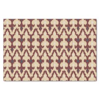 ボルドーのタンの幾何学的なイカットの種族のオーナメントPattrn 薄葉紙
