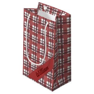 ボルドーの赤いタータンチェックは一流のgiftbagと縞で飾ります スモールペーパーバッグ