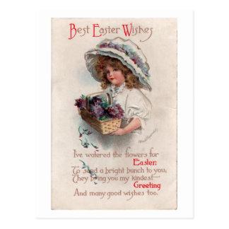 ボンネットの郵便はがきのヴィンテージのイースター女の子 ポストカード