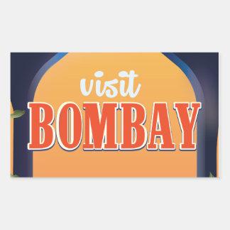 ボンベイのヴィンテージ旅行印刷物 長方形シール