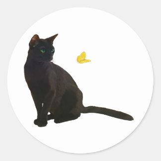 ボンベイの猫及び蝶 ラウンドシール