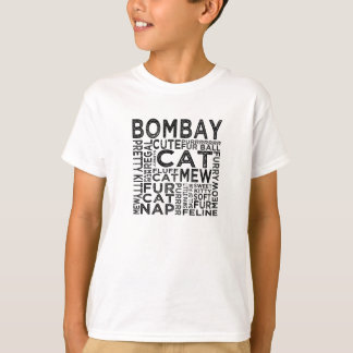 ボンベイ猫のタイポグラフィ Tシャツ
