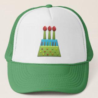 ボンボン菓子のパーティーの虹のお誕生日ケーキの緑 キャップ