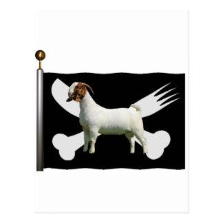 ボーア人のヤギの海賊旗-ナイフおよびフォーク ポストカード