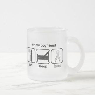 ボーイフレンドは睡眠の希望-肺癌--を食べます フロストグラスマグカップ