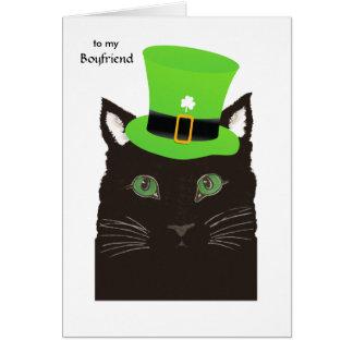 ボーイフレンド-帽子の黒猫のためのセントパトリックの日 カード