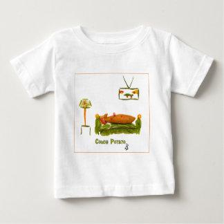 ボーダーが付いているカウチ・ポテト族 ベビーTシャツ