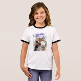 ボーダーコリーおよび雪だるまのTシャツ リンガーTシャツ